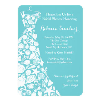 Carte L'invitation nuptiale de douche, plage, mer Shell