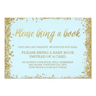 Carte Livre bleu de baby shower de parties scintillantes