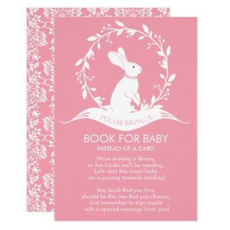 Carte Livre de baby shower de filles de lapin pour la