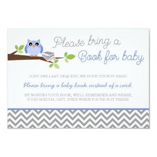 Carte Livre gris de baby shower de Chevron de hibou de