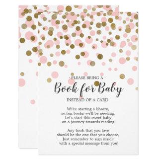 Carte Livre rose de baby shower de confettis d'or pour
