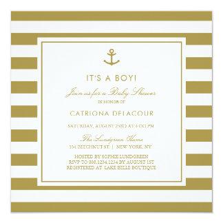 Carte L'or mat nautique c'est un baby shower de garçon