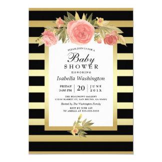 Carte L'or moderne élégant barre le baby shower floral
