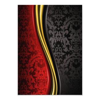 Carte l'or rouge et l'invitation baroque noire carde