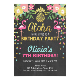 Carte Luau tropical d'anniversaire d'invitation de