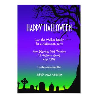 Carte Lueur bleue et verte de Halloween heureux de