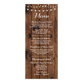 Carte Lumières élégantes en bois de réception de mariage