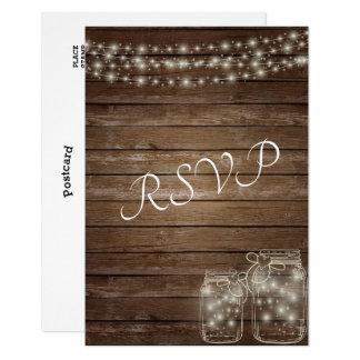 Carte Lumières rustiques élégantes de pot de maçon de
