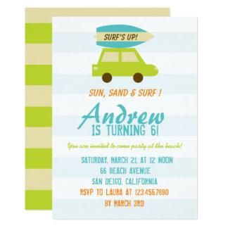 Carte L'Up/Green du surf et les rayures bleues/fête