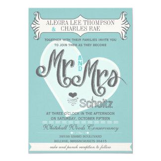 Carte M. et Mme Typography Weddings d'Aqua