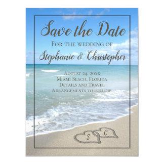 Carte Magnétique Coeurs de monogramme dans le mariage de plage de