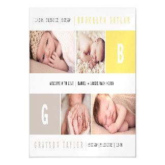 Carte Magnétique La fille de garçon de monogrammes de bébé jumelle