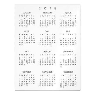 Carte Magnétique Siège social élégant simple du calendrier 2018