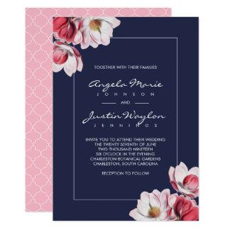 Carte Magnolia du sud épousant le rose et le bleu
