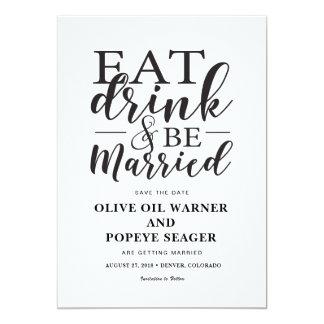 Carte Mangez la boisson et soyez des économies mariées