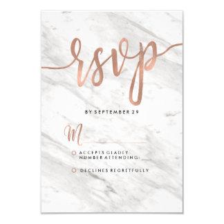 Carte Marbre blanc et or rose RSVP l'épousant moderne