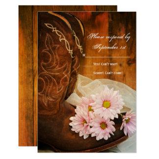Carte Marguerites et bottes de cowboy roses RSVP