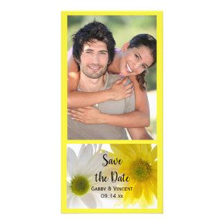 Carte Marguerites jaunes et blanches épousant des