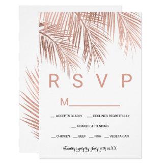 Carte Mariage blanc du palmier rose moderne RSVP d'or
