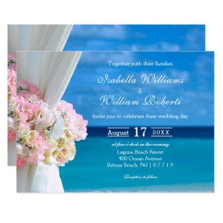 Carte Mariage bleu floral élégant d'été de plage d'océan