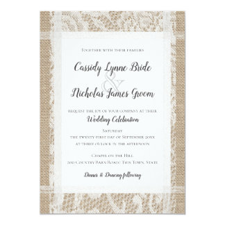 Carte Mariage campagnard rustique blanc de dentelle et