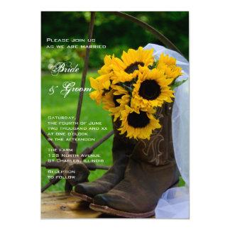 Carte Mariage campagnard rustique de bottes de cowboy de