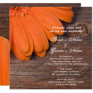 Carte Mariage campagnard rustique de marguerite orange