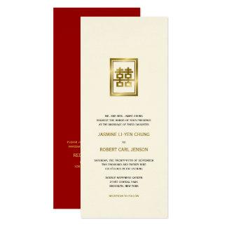 Carte Mariage chinois de rectangle de bonheur d'or de