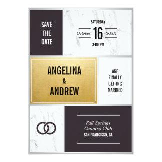 Carte Mariage de marbre blanc noir moderne unique d'or