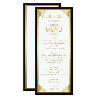 Carte Mariage de menu, réunion de menu, grand Gatsby,