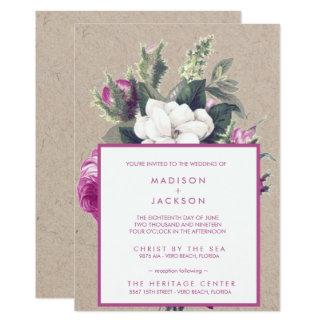 Carte Mariage de papier réutilisé vintage de bouquet