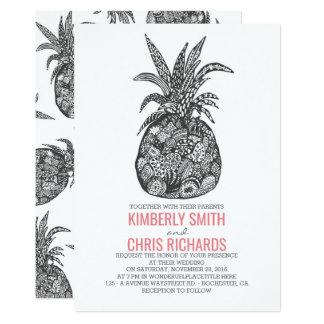Carte Mariage de plage tropical d'ananas