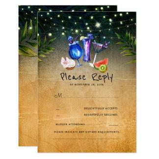 Carte Mariage de plage tropical de cocktails RSVP