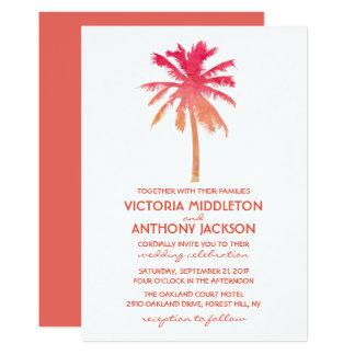 Carte Mariage de plage tropical de palmier de coucher du