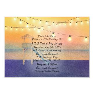 Carte Mariage de vue de coucher du soleil de plage de