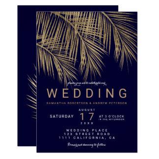 Carte Mariage élégant de bleu marine de palmier moderne