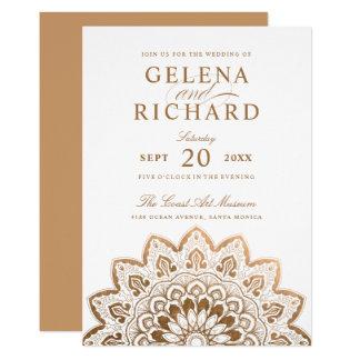 Carte Mariage élégant de mandala de médaillon d'or