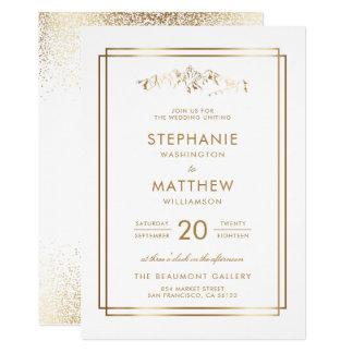 Carte Mariage élégant de montagne de blanc et d'or