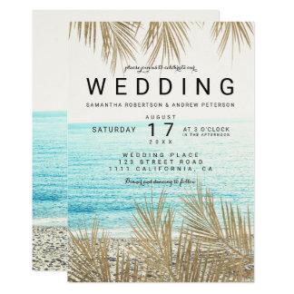 Carte Mariage élégant de photo de plage de palmier