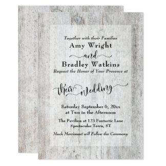 Carte Mariage élégant en bois patiné rustique de