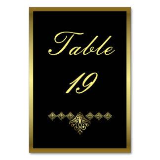 Carte Mariage élégant numéro 19 de noir et d'or