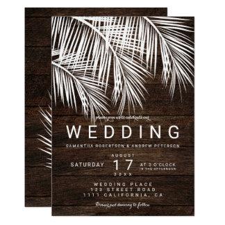 Carte Mariage en bois brun rustique de palmier blanc