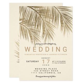 Carte Mariage en ivoire élégant de faux de palmier