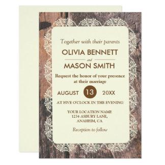 Carte Mariage floral chic de toile de jute de dentelle