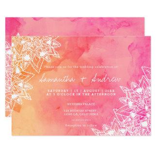 Carte Mariage floral d'aquarelle de rose de dentelle de