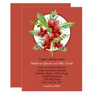 Carte Mariage floral d'aquarelle d'orchidées rouges