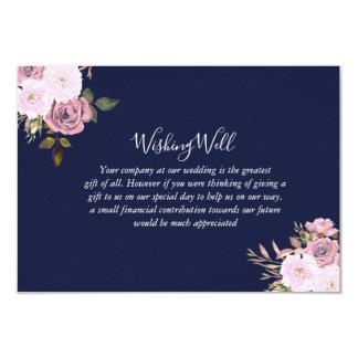 Carte Mariage floral de bleu marine et d'or rose