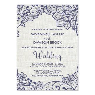 Carte Mariage floral de la dentelle   de toile de jute