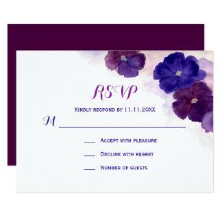 Carte Mariage floral de l'aquarelle bleue pourpre RSVP