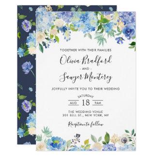 Carte Mariage floral d'hortensias bleus d'aquarelle